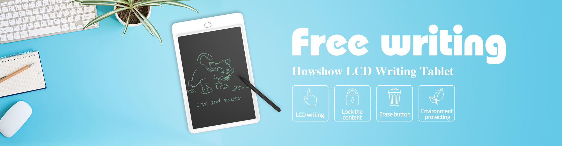 free writing. Howshow LCD Writing Tablet. 10 inch handwriting board